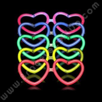 Lunettes Fluo en coeur à l'engros (50 u.)